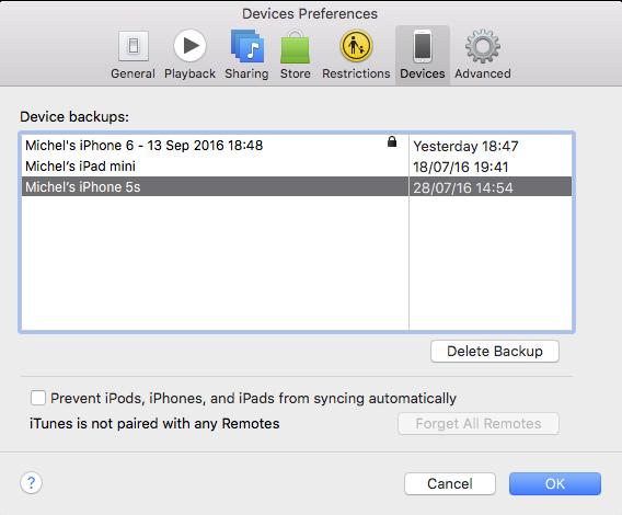 Reservekopie opruimen in iTunes