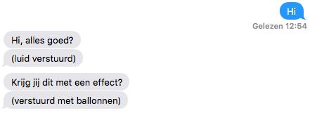 iMessage-effect verstuurd als tekst.