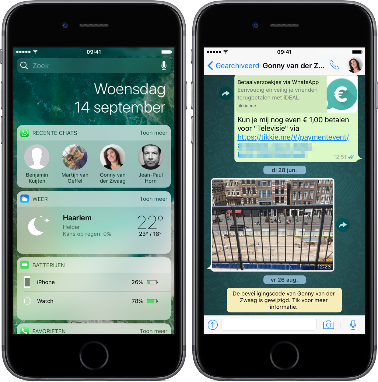 WhatsApp-widget en doorstuurknop.