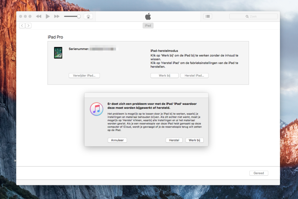 iTunes met vastgelopen iPad Pro door iOS 10-update.