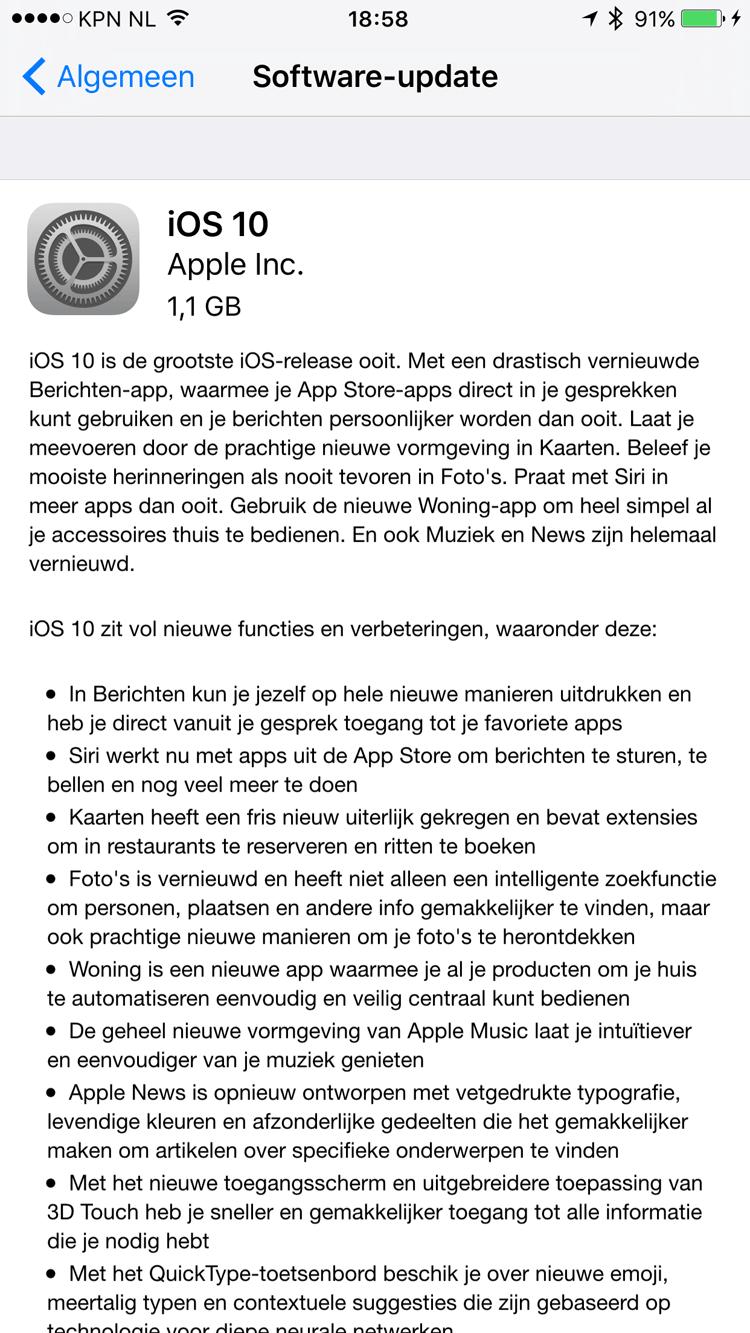 iOS 10 update-beschrijving