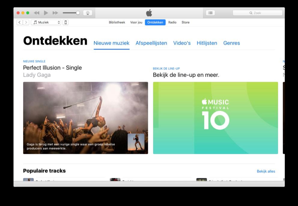 Ontdekken van Apple Music in nieuwe iTunes-versie.