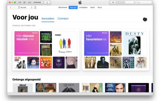 Voor Jou van Apple Music in nieuwe iTunes-versie.