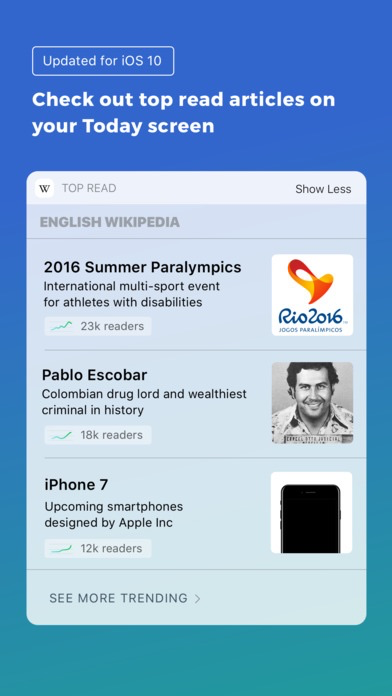 Wikipedia aangepast voor iOS 10.