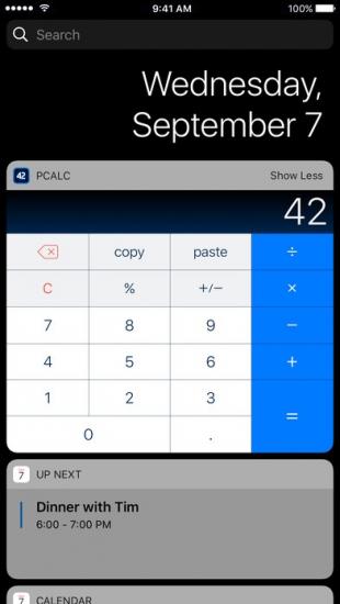 PCalc heeft nieuwe widgets voor iOS 10.