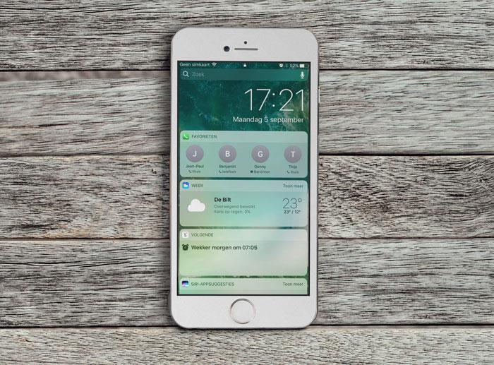 iOS 10 op een tafel, door iCulture