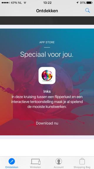 Inks Apple Store app