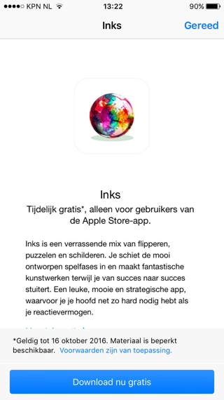 Inks Apple Store app
