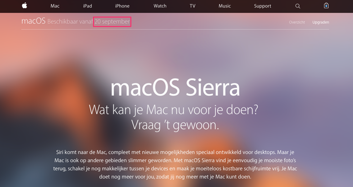 macOS Sierra 20 september