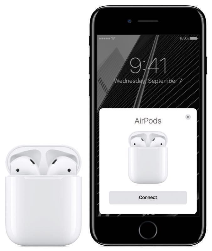 AirPods in de speciale case naast de iPhone