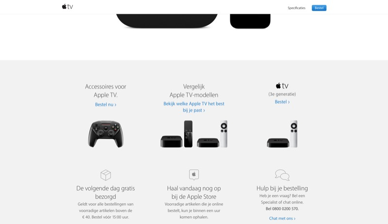 Onderaan de Apple TV pagina