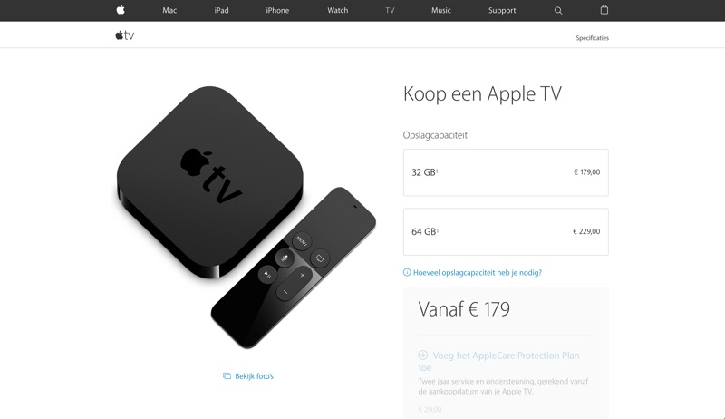 Bestelpagina Apple TV 4e generatie