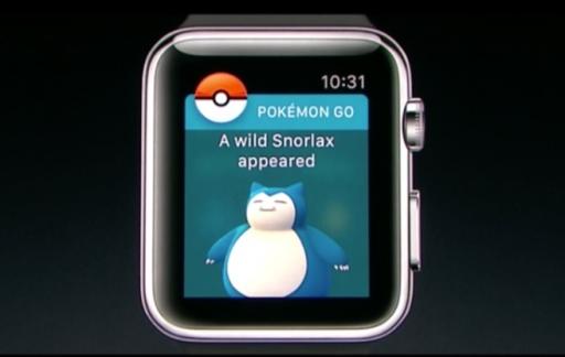 Snorlax in Pokémon Go op de Apple Watch.