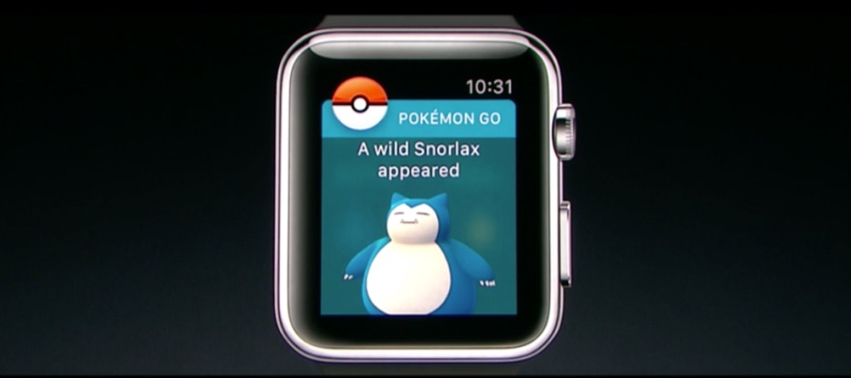 Snorlax in Pokémon Go op de Apple Watch.
