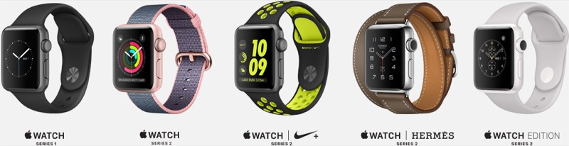 Apple Watch Series 2 vijf horloges