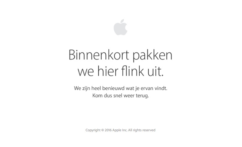 Apple Store offline voor iPhone 7-evenement.