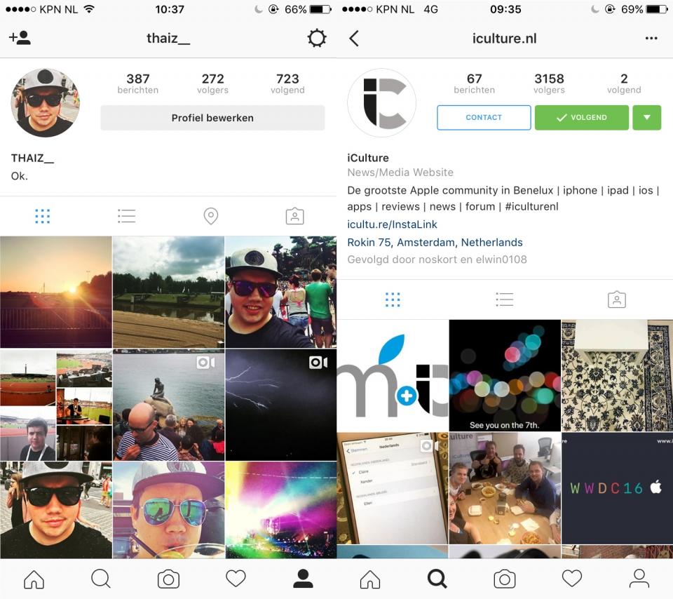 Verschil fotokaart Instagram