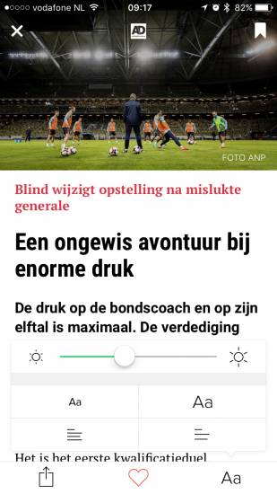 Artikelinstellingen bij een artikel in Blendle.