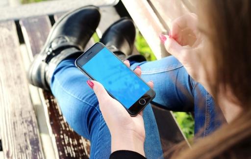 iPhone met blauw scherm