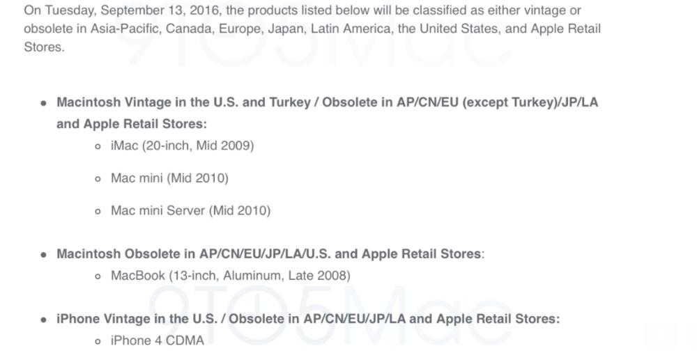 iPhone 4 en sommige Macs kunnen niet meer gerepareerd worden.