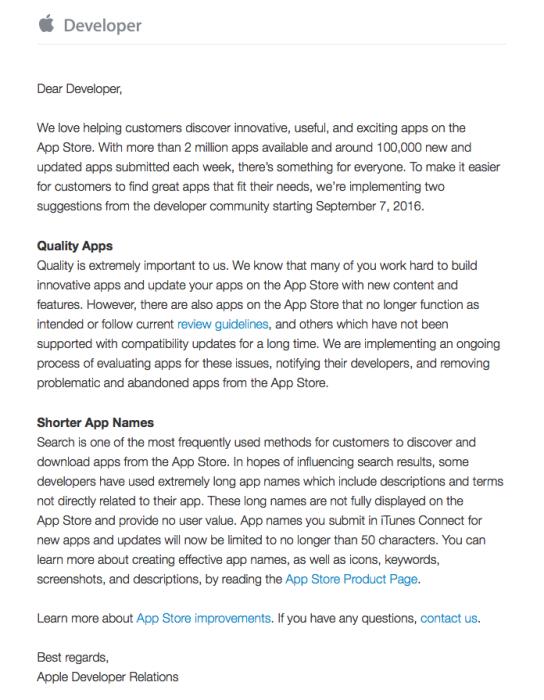 Brief App Store opruimen