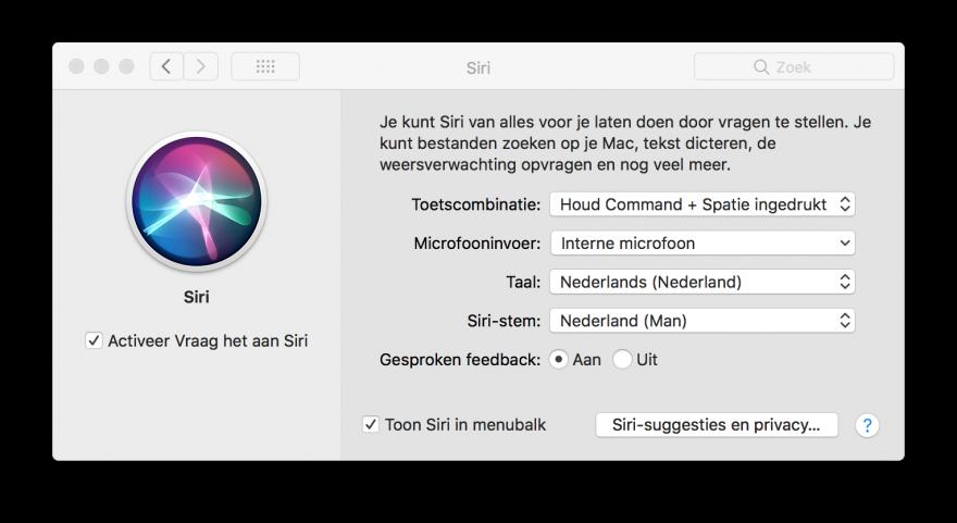 Siri macOS instellingen