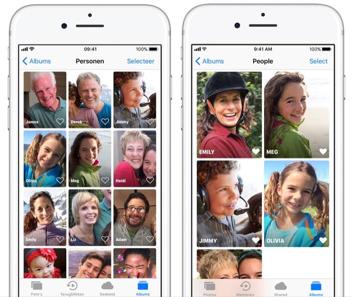 Personen albums in Foto's-app met favorieten.