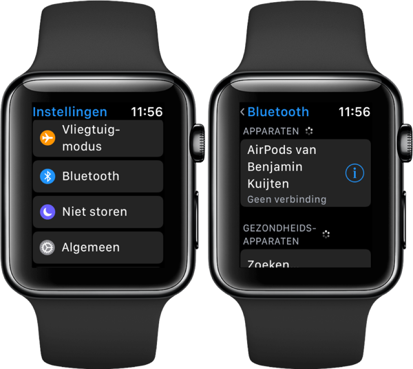 Koptelefoon verbinden met Apple Watch.