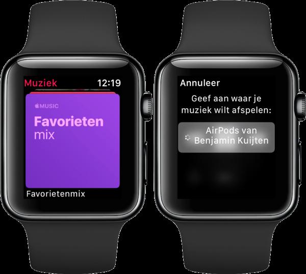 Muziek afspelen via de Apple Watch.