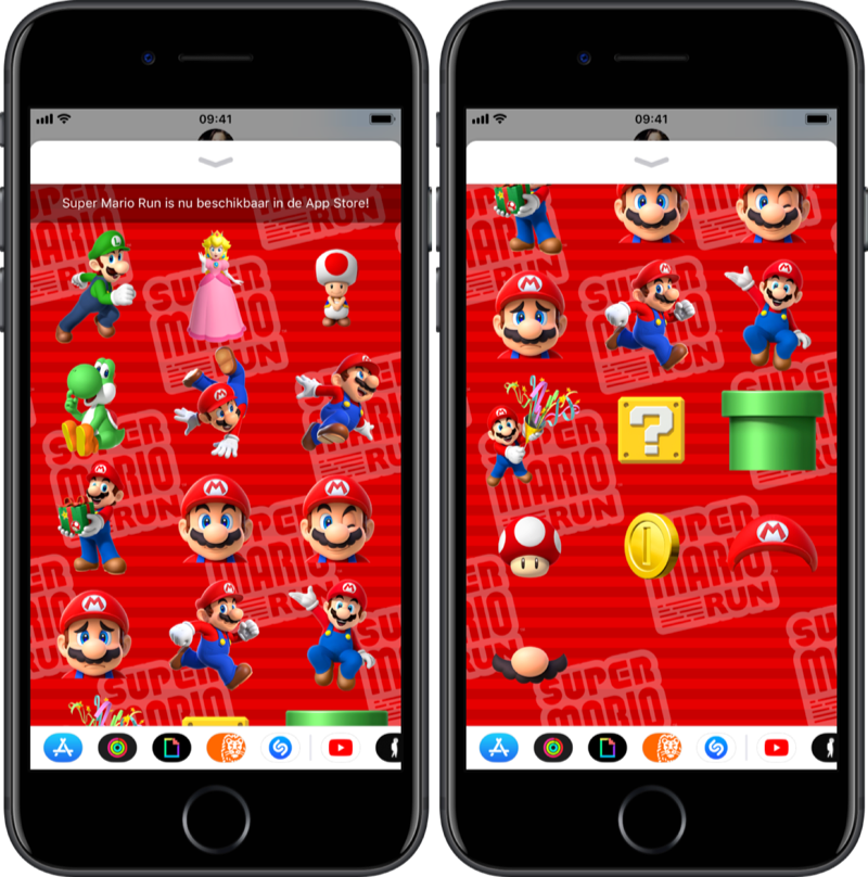Stickers van Super Mario Run.