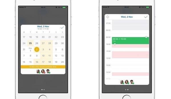 Outlook op iOS met beschikbaarheid van collega's.