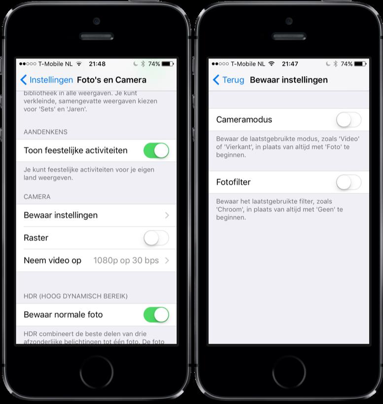 iOS 10.2 met nieuwe camera-instelling.