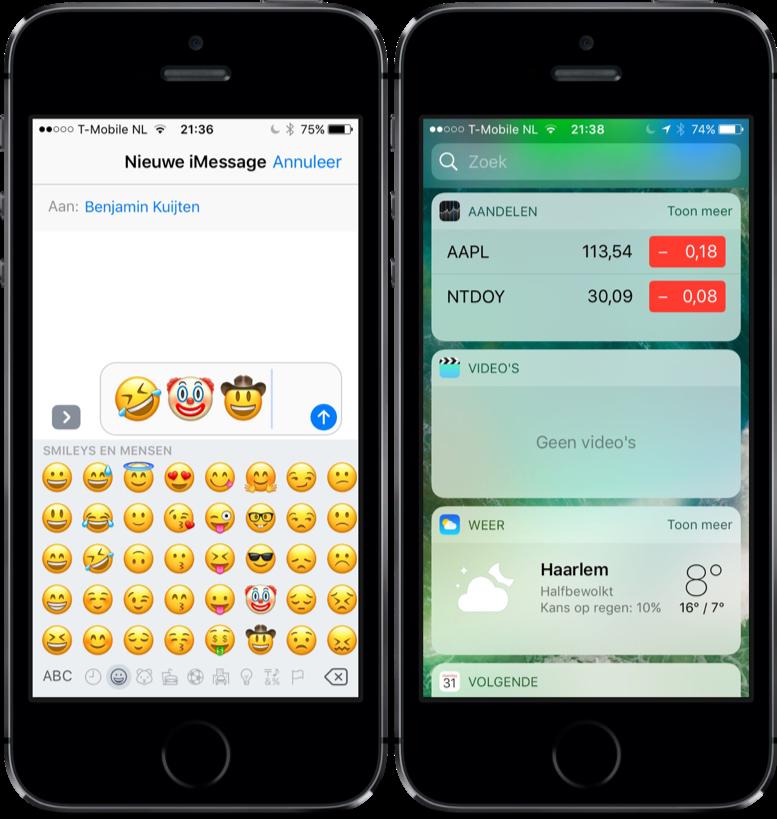 Nieuwe emoji in iOS 10.2 en nieuwe widget voor Video's-app.