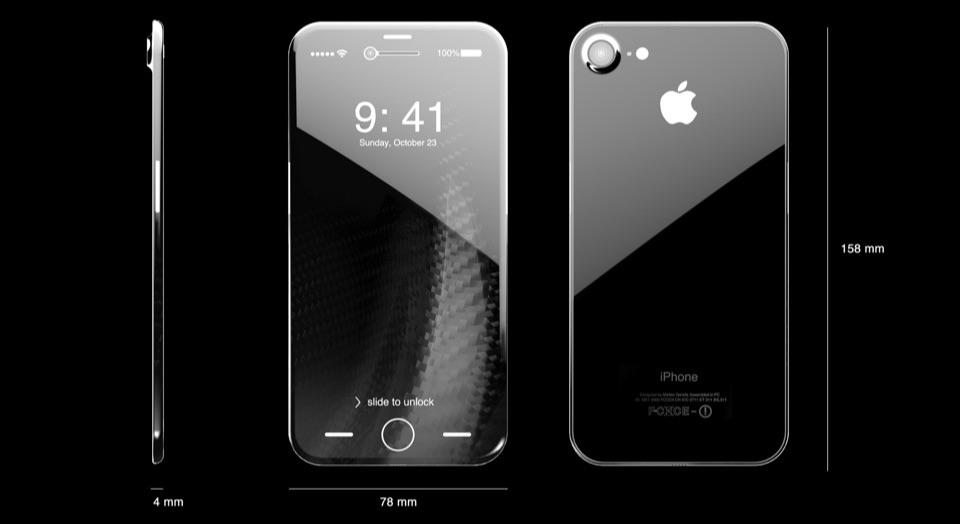 iPhone 8-concept met afmetingen.