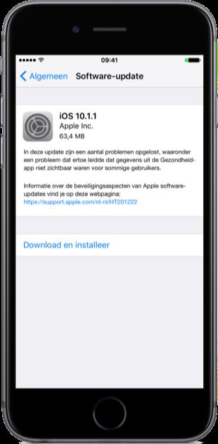 iOS 10.1.1 met bugfixes voor Gezondheid-app.