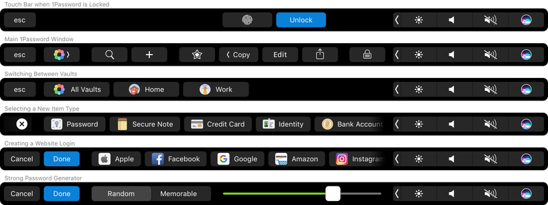 1Password voor Mac Touch Bar-functies