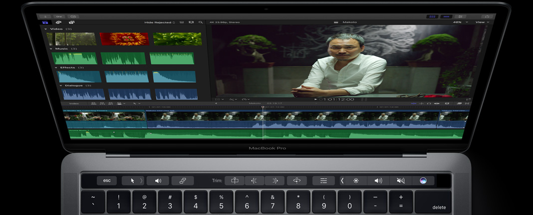 Final Cut Pro: trimming met Touch Bar op MacBook Pro