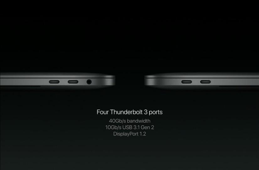 MacBook Pro met nieuwe aansluitingen voor USB-C en Thunderbolt.