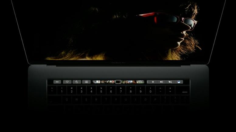 Touchbar op de nieuwe MacBook Pro.