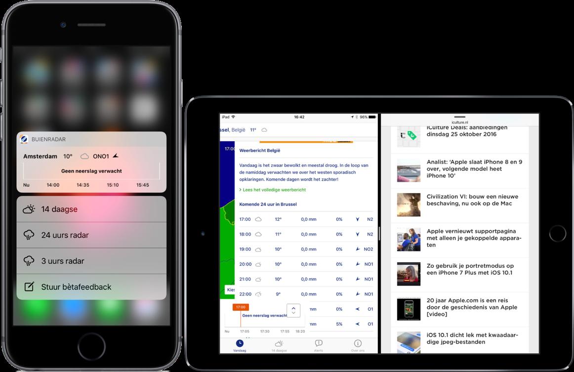 Buienradar België met 3D Touch en Split View op de iPad.