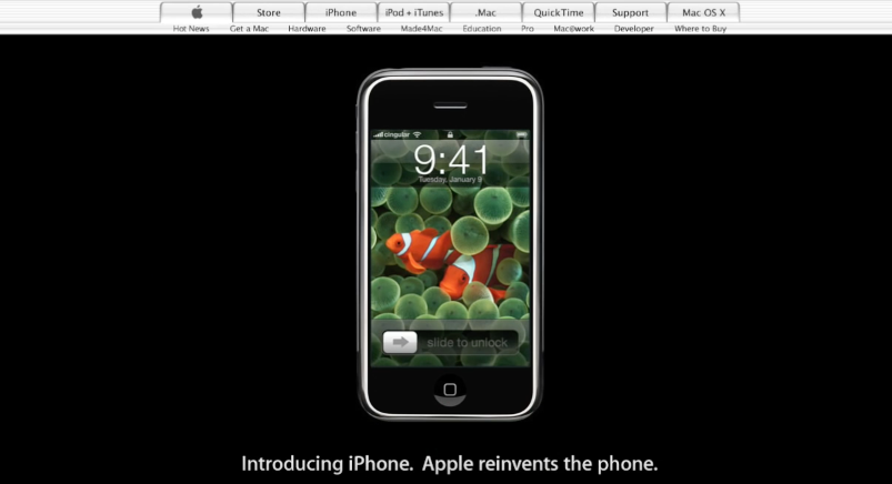 iPhone geïntroduceerd op Apple-website.