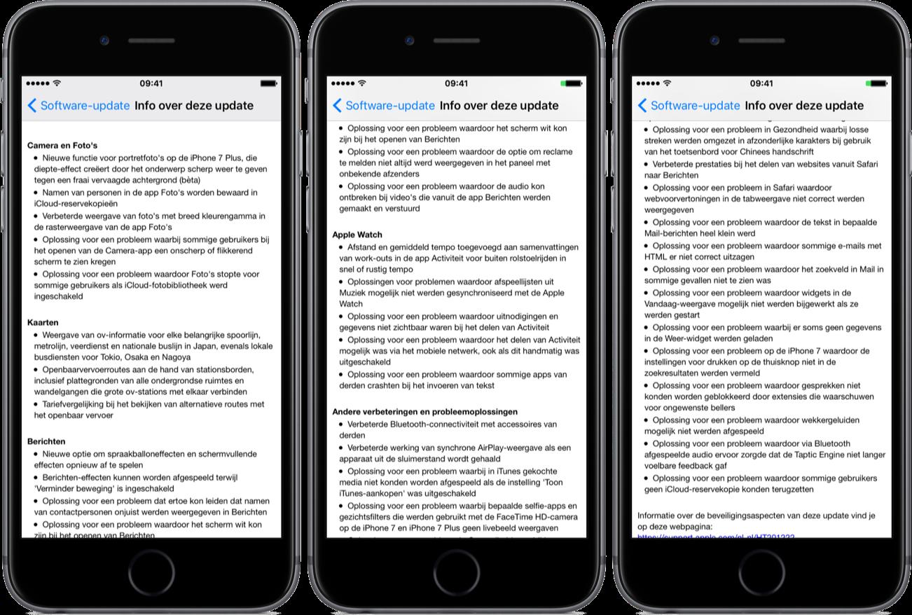 iOS 10.1 releasenotes.