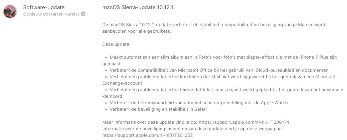 macOS Sierra 10.12.1.