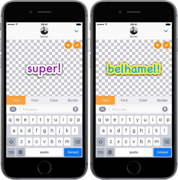 TextStickers iMessage-app voor iPhone