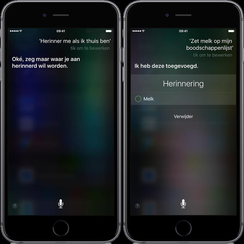 Siri herinneringen op locatie en lijstjes