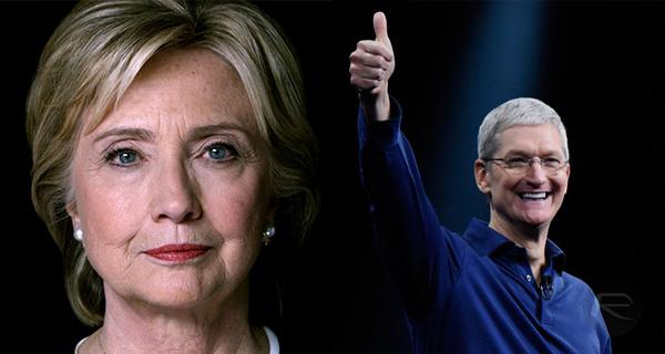 Tim Cook en Hillary Clinton