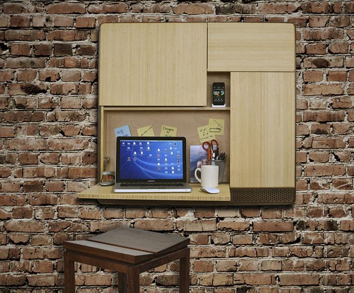 Podpad houten kast met MacBook en bureauplank