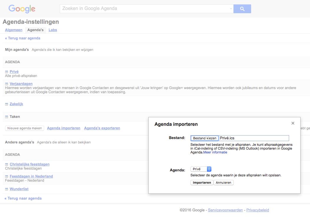 Google Agenda desktop importeren