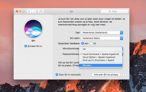 Siri-toetscombinatie op de Mac