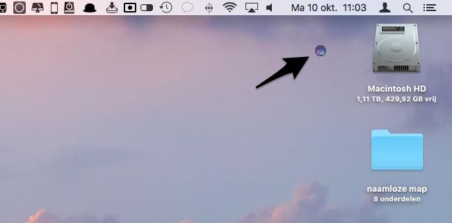 Siri-icoon verwijderen uit de menubalk
